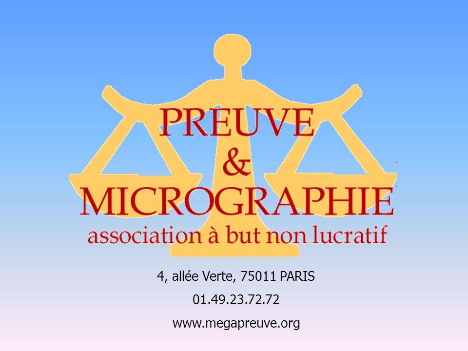 4, allée Verte, 75011 PARIS 01.49.23.72.72 www.megapreuve.org