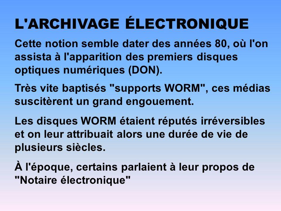 Cette notion semble dater des années 80, où l'on assista à l'apparition des premiers disques optiques numériques (DON). L'ARCHIVAGE ÉLECTRONIQUE Très
