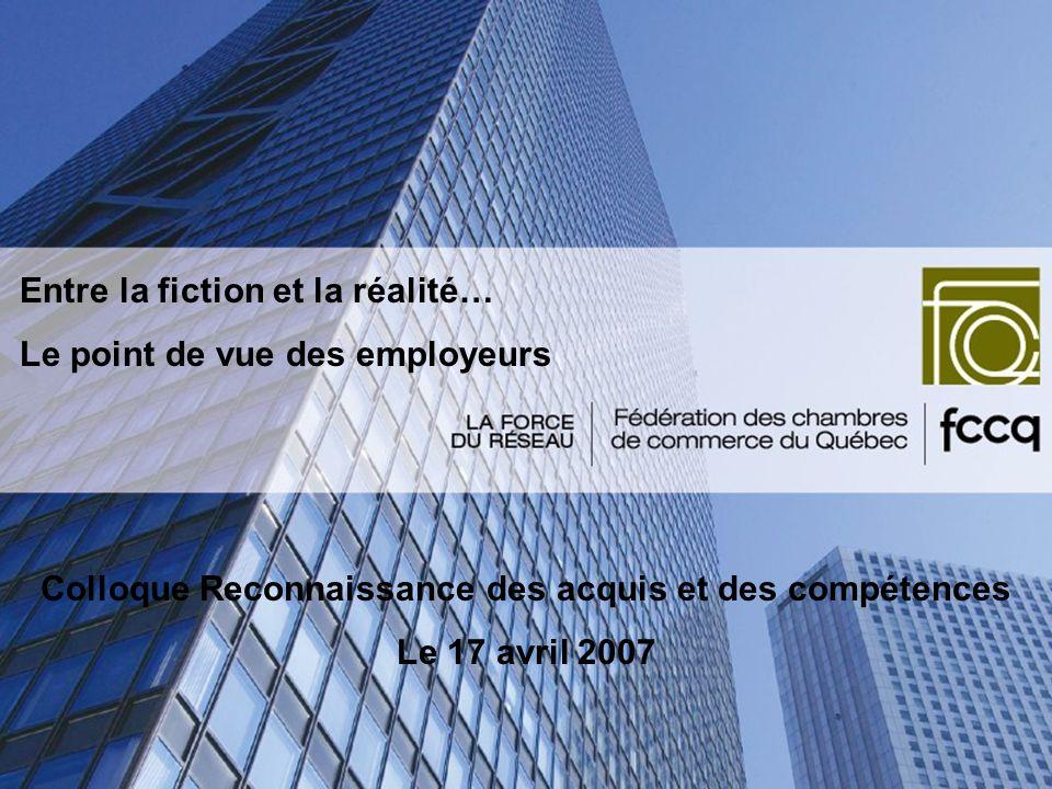 La formation professionnelle au Québec Les différents référentiels du marché du travail