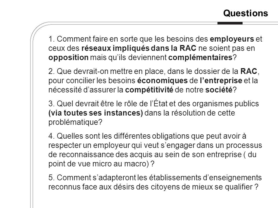 Questions 1. Comment faire en sorte que les besoins des employeurs et ceux des réseaux impliqués dans la RAC ne soient pas en opposition mais quils de