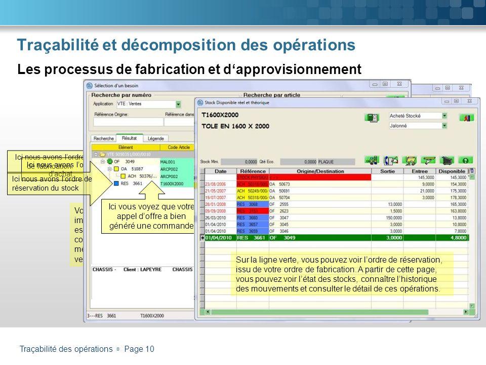 Traçabilité des opérations Page 10 Traçabilité et décomposition des opérations Les processus de fabrication et dapprovisionnement Dans loutil « traçab