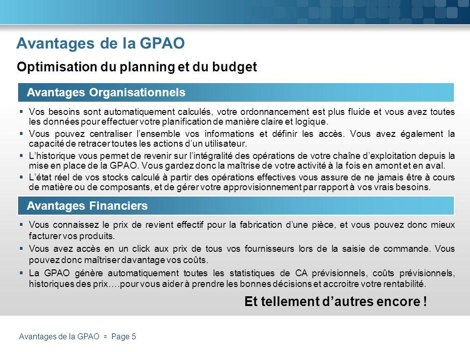 Avantages de la GPAO Page 5 Avantages de la GPAO Avantages Organisationnels Vos besoins sont automatiquement calculés, votre ordonnancement est plus f