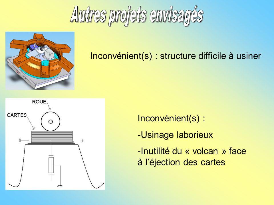 Inconvénient(s) : structure difficile à usiner Inconvénient(s) : -Usinage laborieux -Inutilité du « volcan » face à léjection des cartes