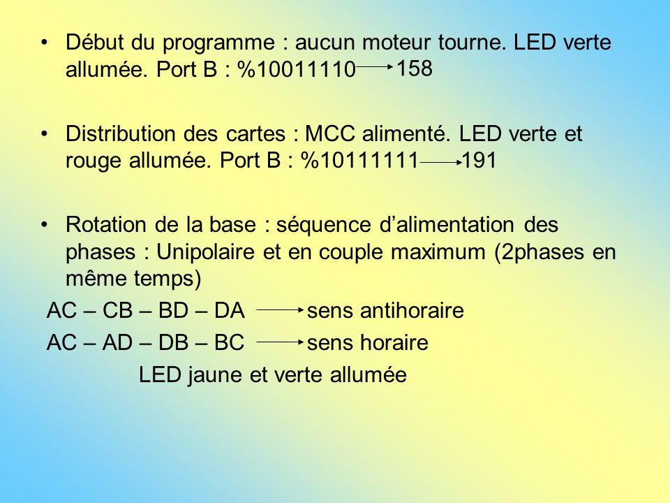 Début du programme : aucun moteur tourne. LED verte allumée. Port B : %10011110 Distribution des cartes : MCC alimenté. LED verte et rouge allumée. Po
