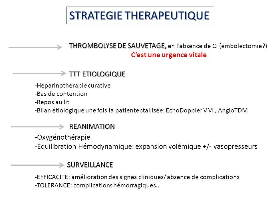 STRATEGIE THERAPEUTIQUE THROMBOLYSE DE SAUVETAGE, THROMBOLYSE DE SAUVETAGE, en labsence de CI (embolectomie?) Cest une urgence vitale TTT ETIOLOGIQUE