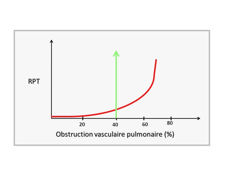 RPT Obstruction vasculaire pulmonaire (%) 40 2060 80