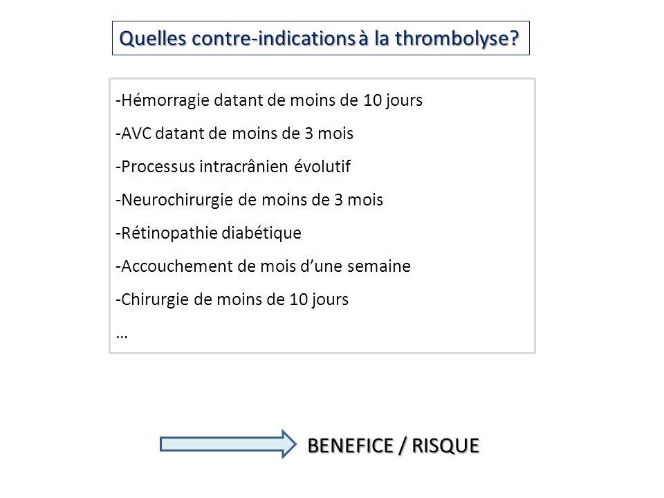 Quelles contre-indications à la thrombolyse? -Hémorragie datant de moins de 10 jours -AVC datant de moins de 3 mois -Processus intracrânien évolutif -