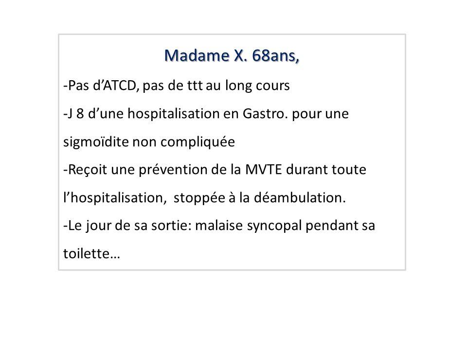 Madame X. 68ans, -Pas dATCD, pas de ttt au long cours -J 8 dune hospitalisation en Gastro. pour une sigmoïdite non compliquée -Reçoit une prévention d