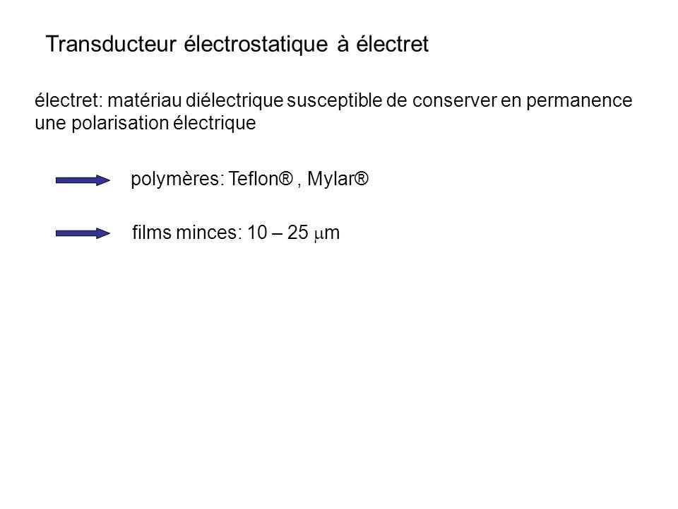 Transducteur électrostatique à électret électret: matériau diélectrique susceptible de conserver en permanence une polarisation électrique polymères: Teflon®, Mylar® films minces: 10 – 25 m