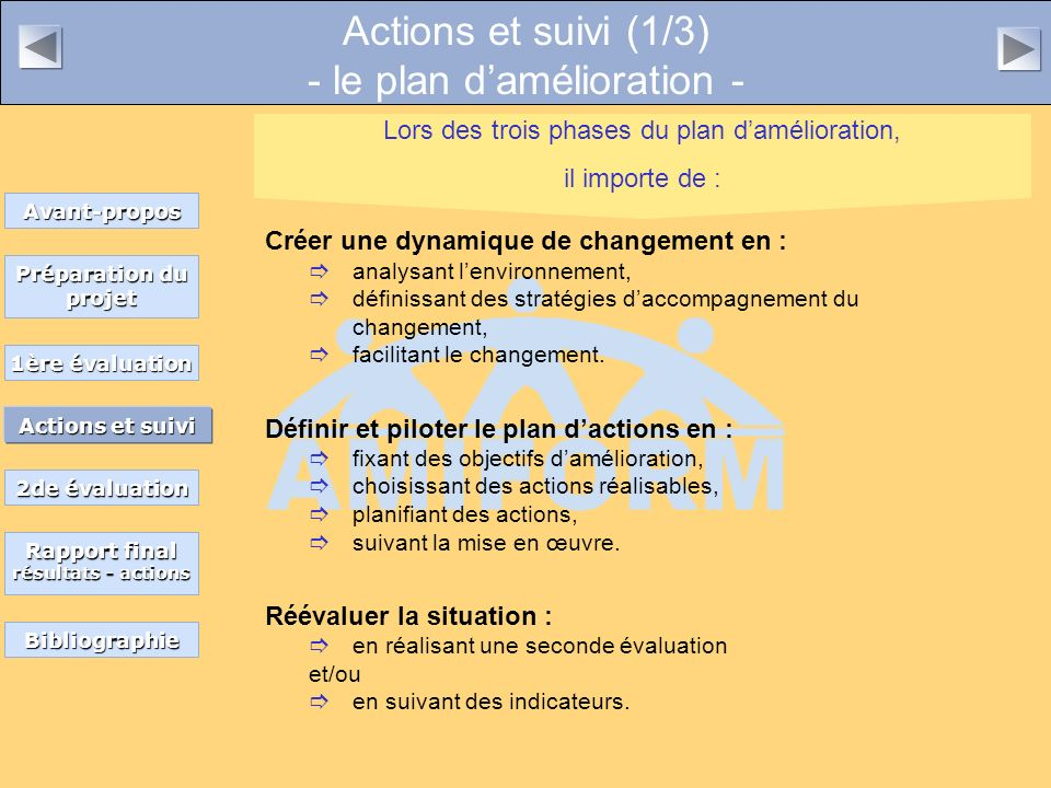 Actions et suivi (1/3) - le plan damélioration - Créer une dynamique de changement en : analysant lenvironnement, définissant des stratégies daccompagnement du changement, facilitant le changement.
