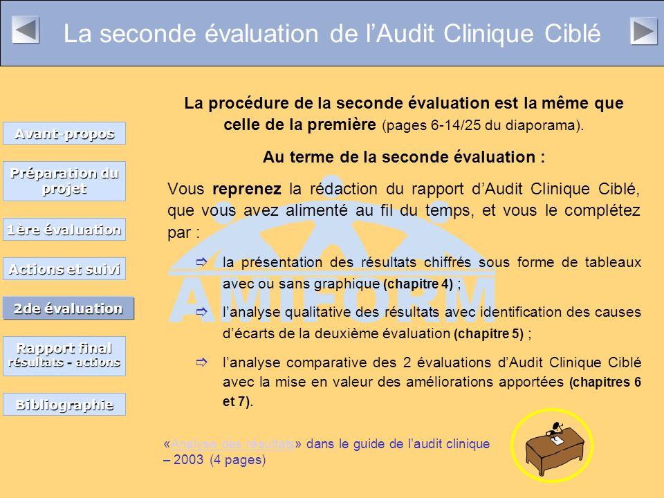La seconde évaluation de lAudit Clinique Ciblé La procédure de la seconde évaluation est la même que celle de la première (pages 6-14/25 du diaporama).