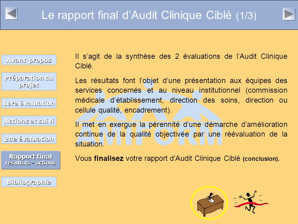 Le rapport final dAudit Clinique Ciblé (1/3) Il sagit de la synthèse des 2 évaluations de lAudit Clinique Ciblé. Les résultats font lobjet dune présen