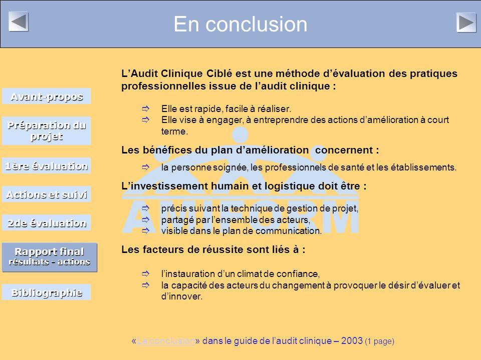 En conclusion LAudit Clinique Ciblé est une méthode dévaluation des pratiques professionnelles issue de laudit clinique : Elle est rapide, facile à réaliser.