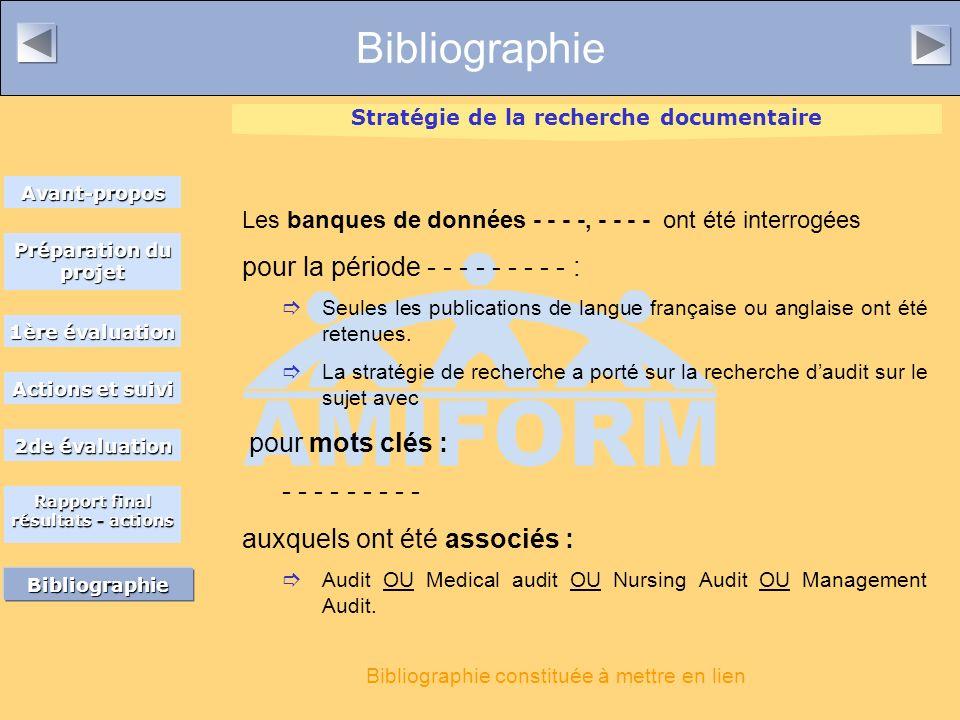 Bibliographie Les banques de données - - - -, - - - - ont été interrogées pour la période - - - - - - - - - : Seules les publications de langue française ou anglaise ont été retenues.