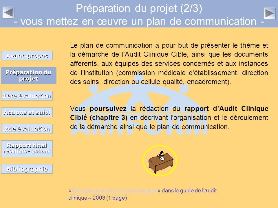 Préparation du projet (2/3) - vous mettez en œuvre un plan de communication - Le plan de communication a pour but de présenter le thème et la démarche