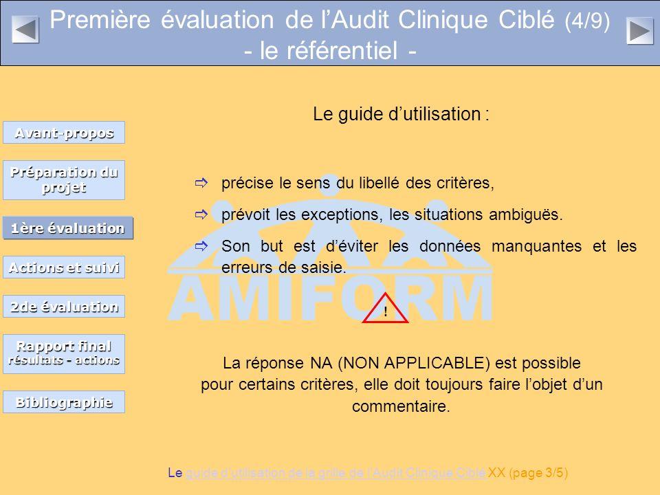 Première évaluation de lAudit Clinique Ciblé (4/9) - le référentiel - Le guide dutilisation : précise le sens du libellé des critères, prévoit les exc