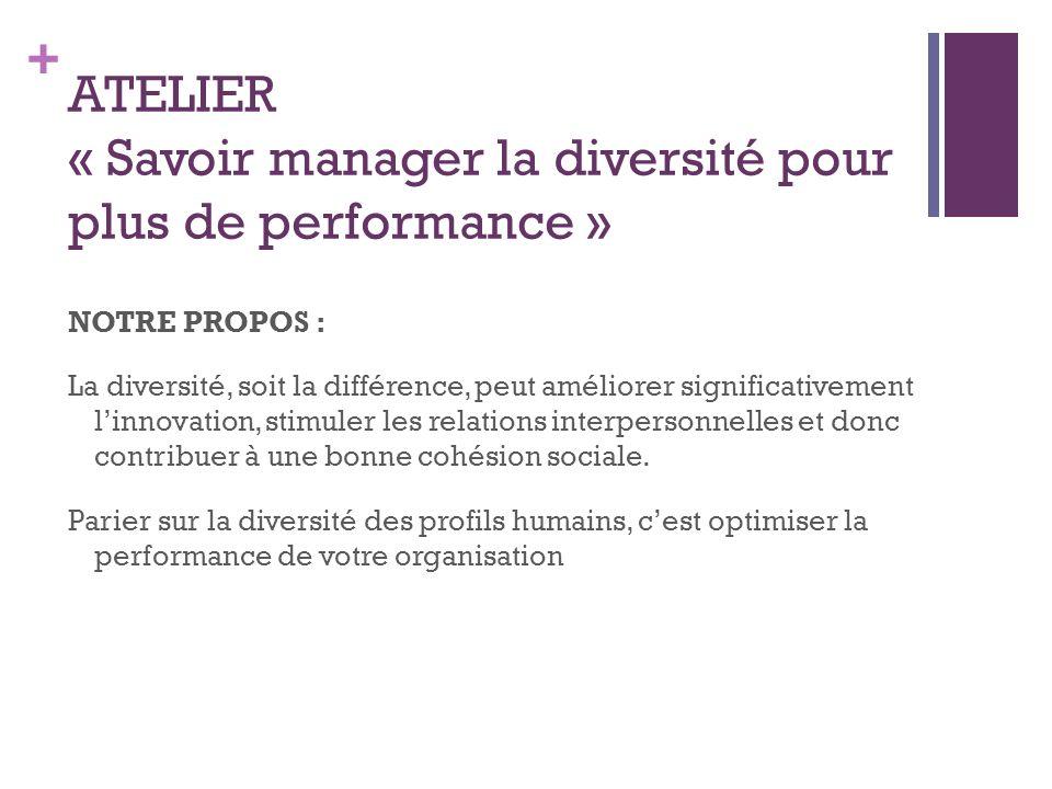 + ATELIER « Savoir manager la diversité pour plus de performance » NOTRE PROPOS : La diversité, soit la différence, peut améliorer significativement linnovation, stimuler les relations interpersonnelles et donc contribuer à une bonne cohésion sociale.