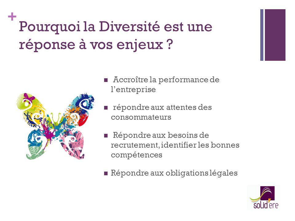 + Pourquoi la Diversité est une réponse à vos enjeux ? Accroître la performance de lentreprise répondre aux attentes des consommateurs Répondre aux be