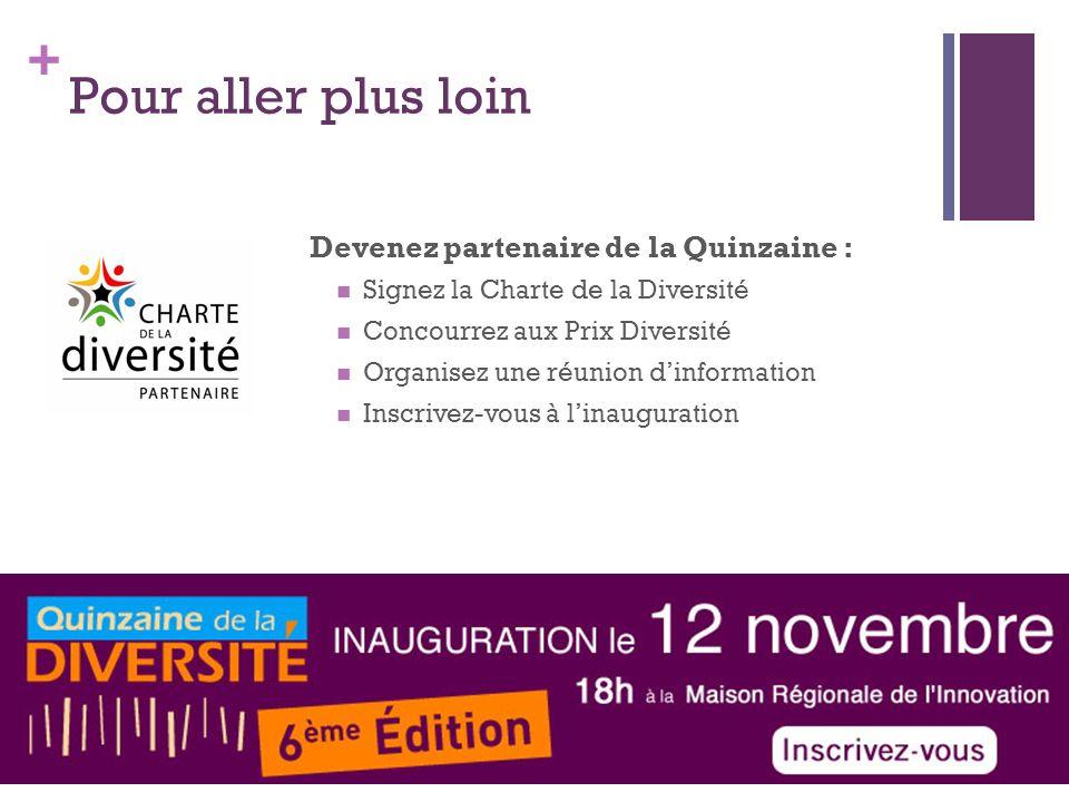 + Pour aller plus loin Devenez partenaire de la Quinzaine : Signez la Charte de la Diversité Concourrez aux Prix Diversité Organisez une réunion dinfo