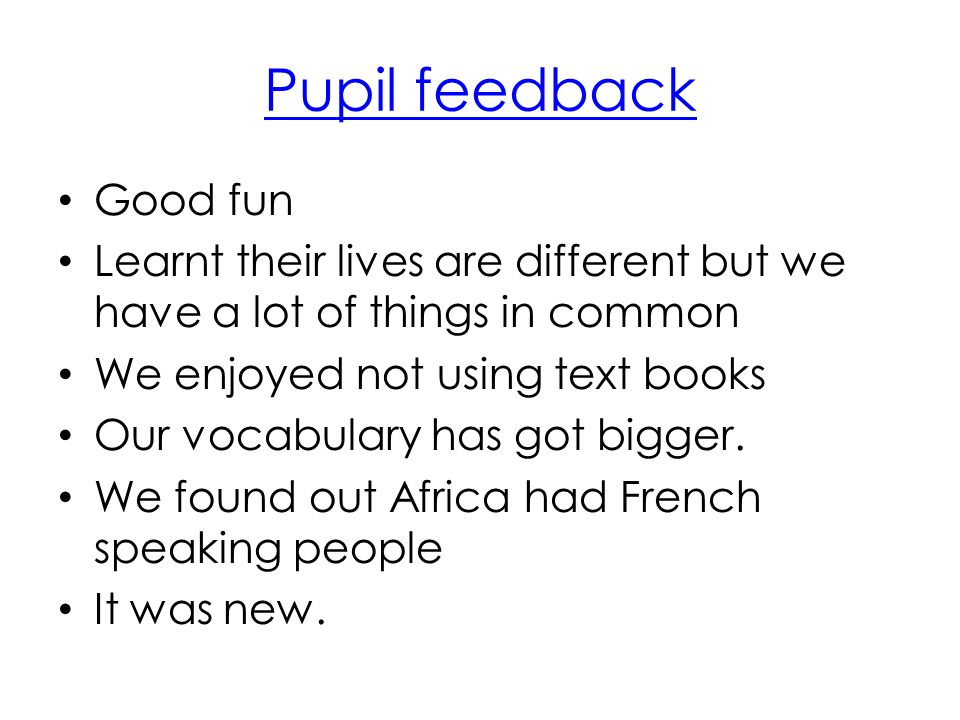 Pupil feedback Good fun Learnt their lives are different but we have a lot of things in common We enjoyed not using text books Our vocabulary has got bigger.