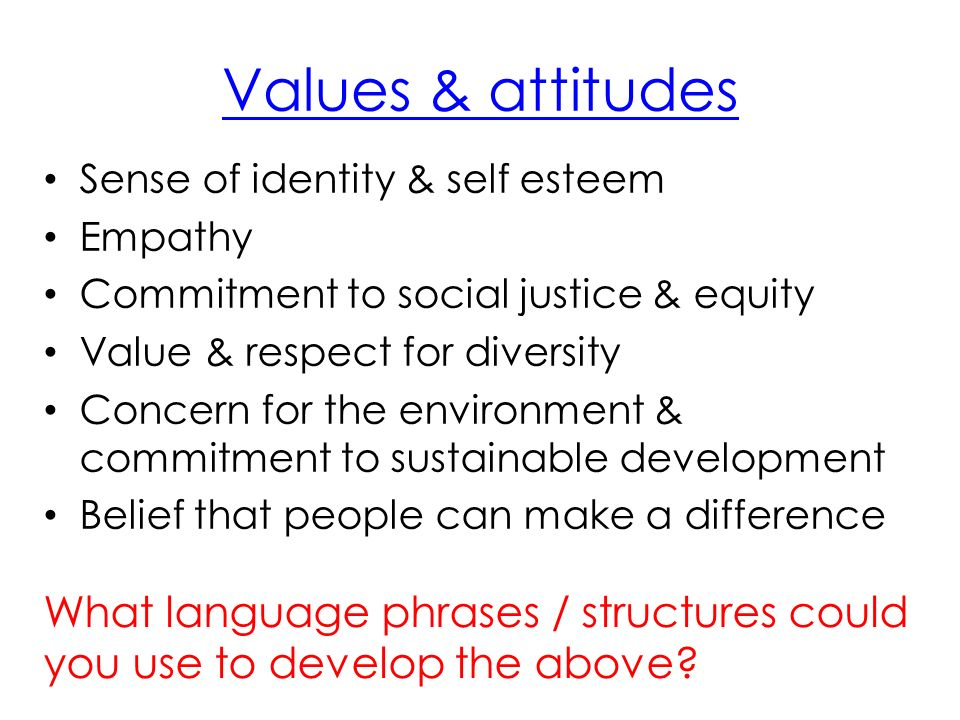 Values & attitudes Sense of identity & self esteem Empathy Commitment to social justice & equity Value & respect for diversity Concern for the environment & commitment to sustainable development Belief that people can make a difference What language phrases / structures could you use to develop the above?