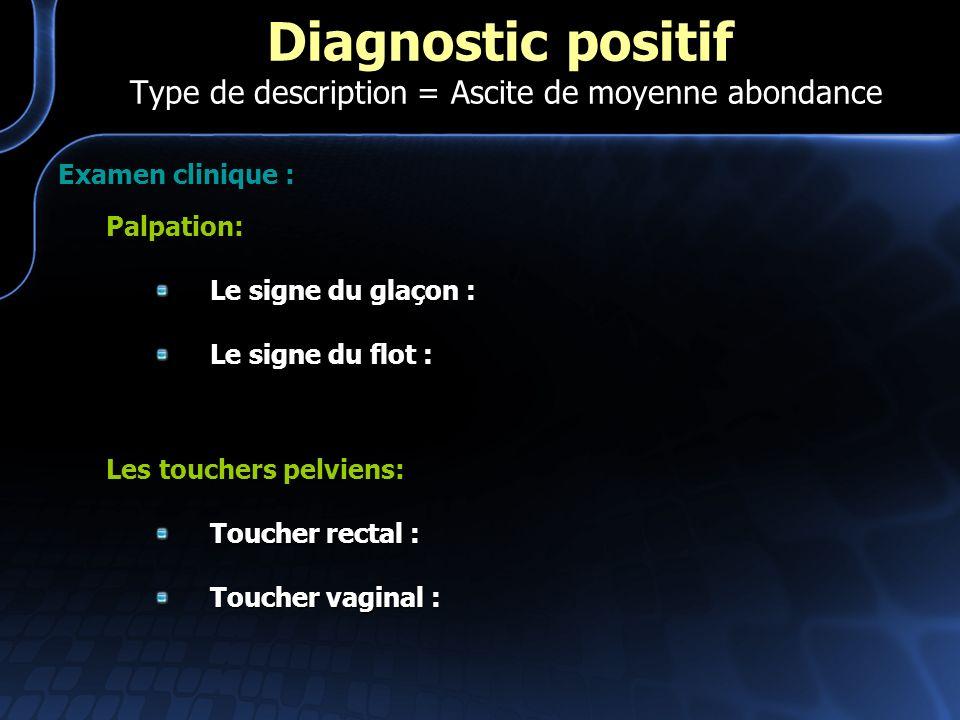 Examen clinique : Palpation: Le signe du glaçon : Le signe du flot : Les touchers pelviens: Toucher rectal : Toucher vaginal : Diagnostic positif Type