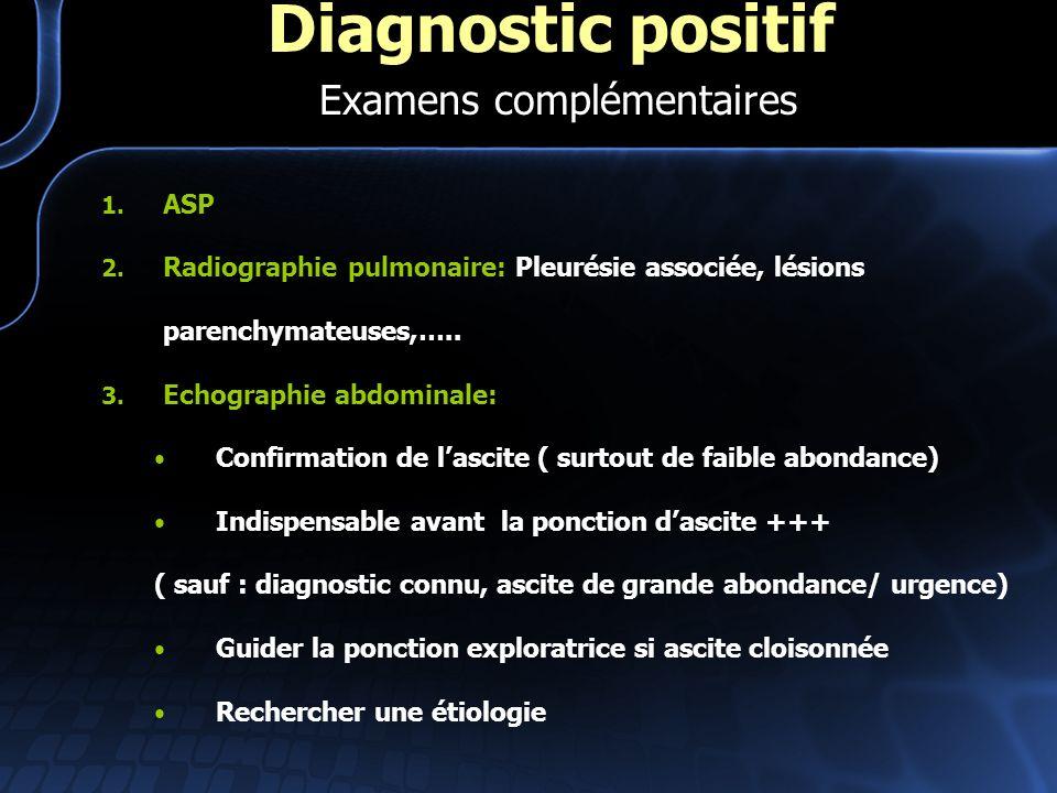 1. ASP 2. Radiographie pulmonaire: Pleurésie associée, lésions parenchymateuses,….. 3. Echographie abdominale: Confirmation de lascite ( surtout de fa