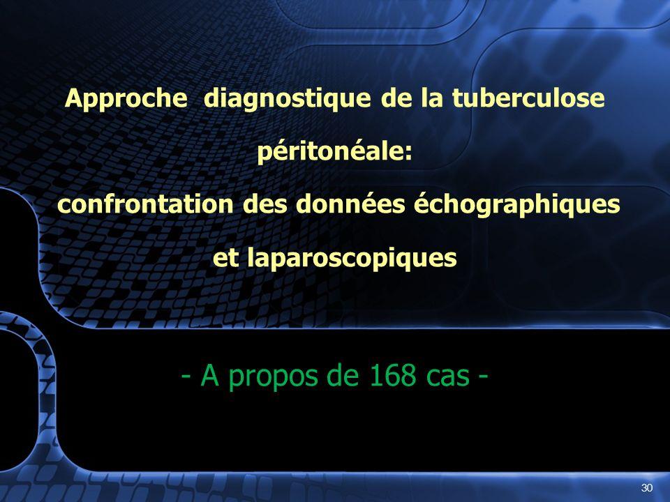 - - Approche diagnostique de la tuberculose péritonéale: confrontation des données échographiques et laparoscopiques - A propos de 168 cas - 30