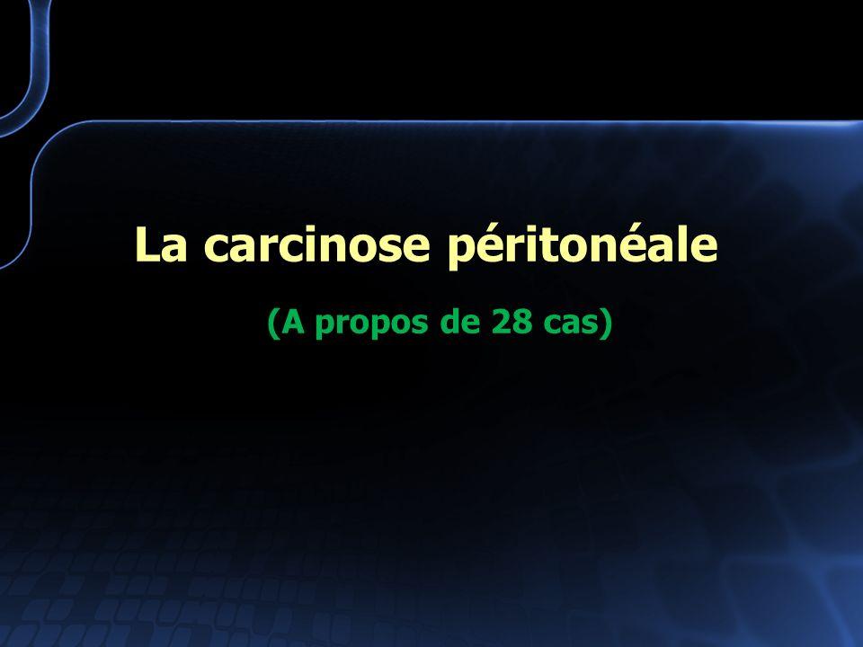 La carcinose péritonéale (A propos de 28 cas)