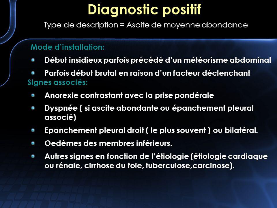 Diagnostic positif Type de description = Ascite de moyenne abondance Mode dinstallation: Début insidieux parfois précédé dun météorisme abdominal Parf