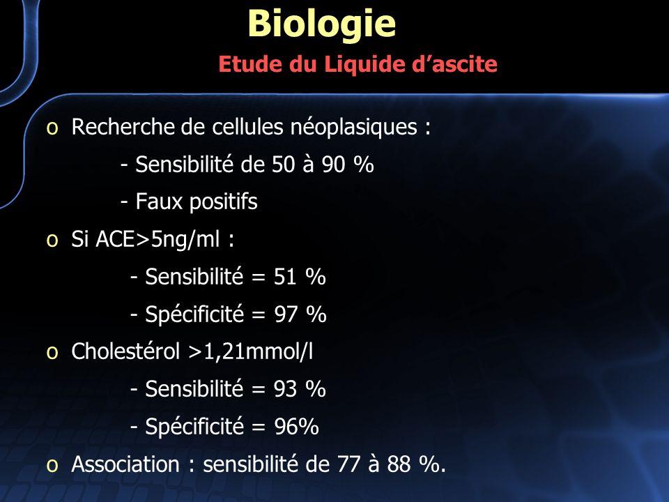 oRecherche de cellules néoplasiques : - Sensibilité de 50 à 90 % - Faux positifs oSi ACE>5ng/ml : - Sensibilité = 51 % - Spécificité = 97 % oCholestér