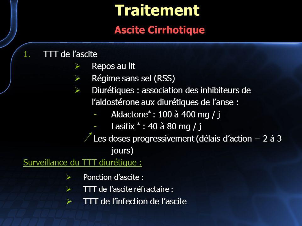 1.TTT de lascite Repos au lit Régime sans sel (RSS) Diurétiques : association des inhibiteurs de laldostérone aux diurétiques de lanse : -Aldactone *
