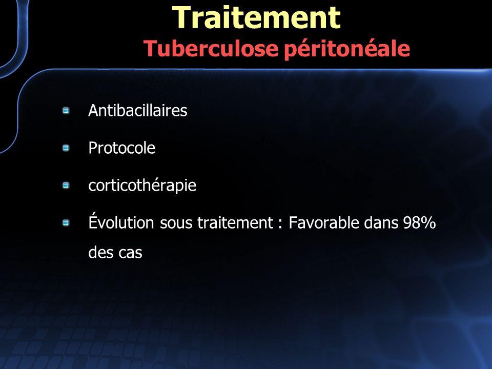 Antibacillaires Protocole corticothérapie Évolution sous traitement : Favorable dans 98% des cas Traitement Tuberculose péritonéale