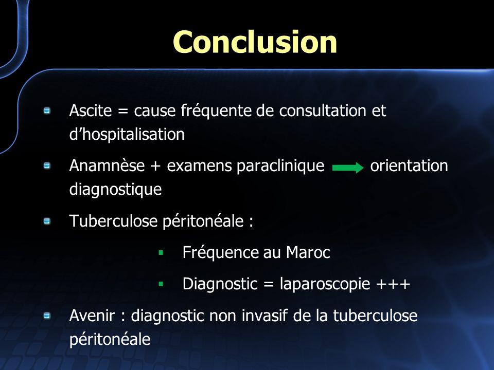 Conclusion Ascite = cause fréquente de consultation et dhospitalisation Anamnèse + examens paraclinique orientation diagnostique Tuberculose péritonéa