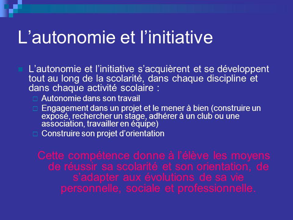 Lautonomie et linitiative Lautonomie et linitiative sacquièrent et se développent tout au long de la scolarité, dans chaque discipline et dans chaque