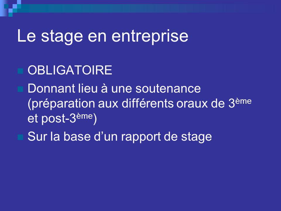 Le stage en entreprise OBLIGATOIRE Donnant lieu à une soutenance (préparation aux différents oraux de 3 ème et post-3 ème ) Sur la base dun rapport de