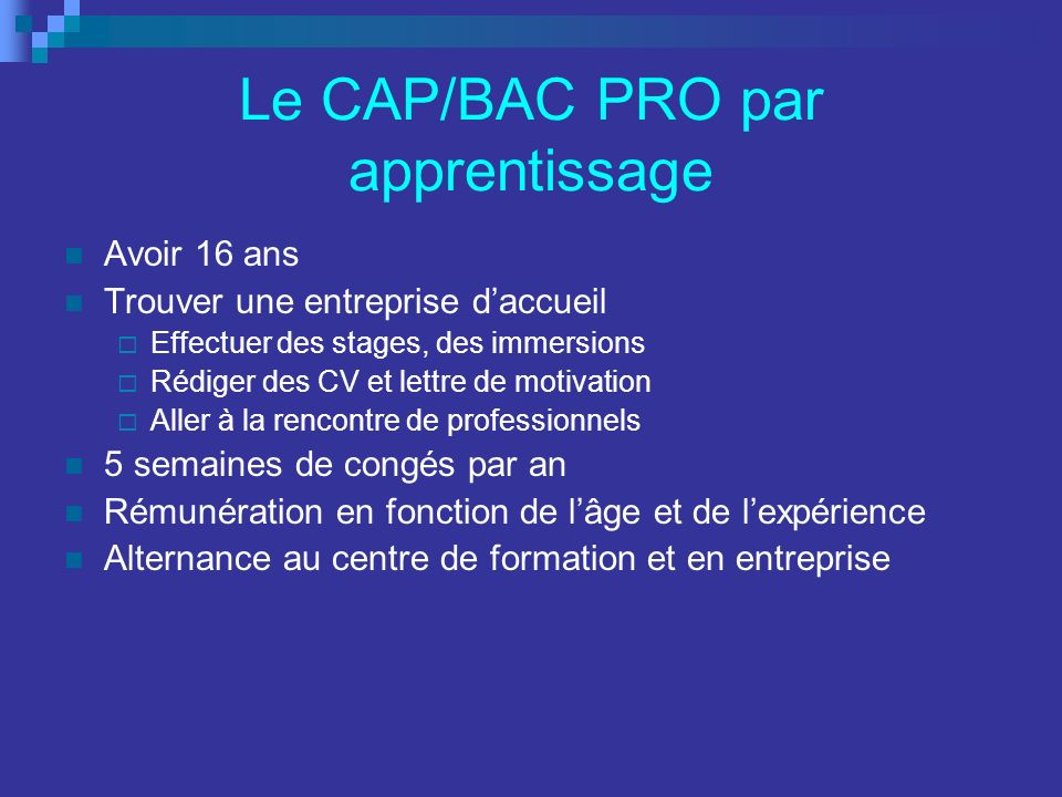 Le CAP/BAC PRO par apprentissage Avoir 16 ans Trouver une entreprise daccueil Effectuer des stages, des immersions Rédiger des CV et lettre de motivat