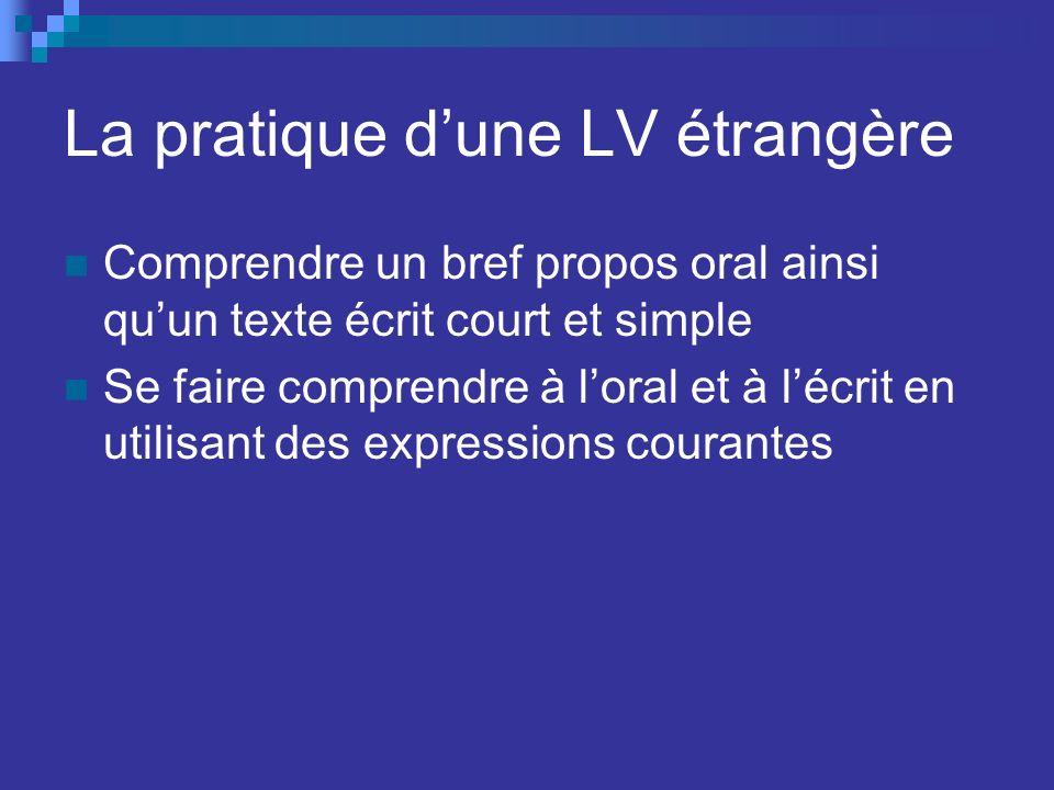 La pratique dune LV étrangère Comprendre un bref propos oral ainsi quun texte écrit court et simple Se faire comprendre à loral et à lécrit en utilisa