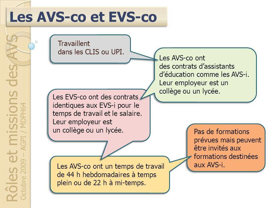 Rôles et missions des AVS Octobre 2009 – AGPI / MDPH64 Les AVS-co ont un temps de travail de 44 h hebdomadaires à temps plein ou de 22 h à mi-temps. L
