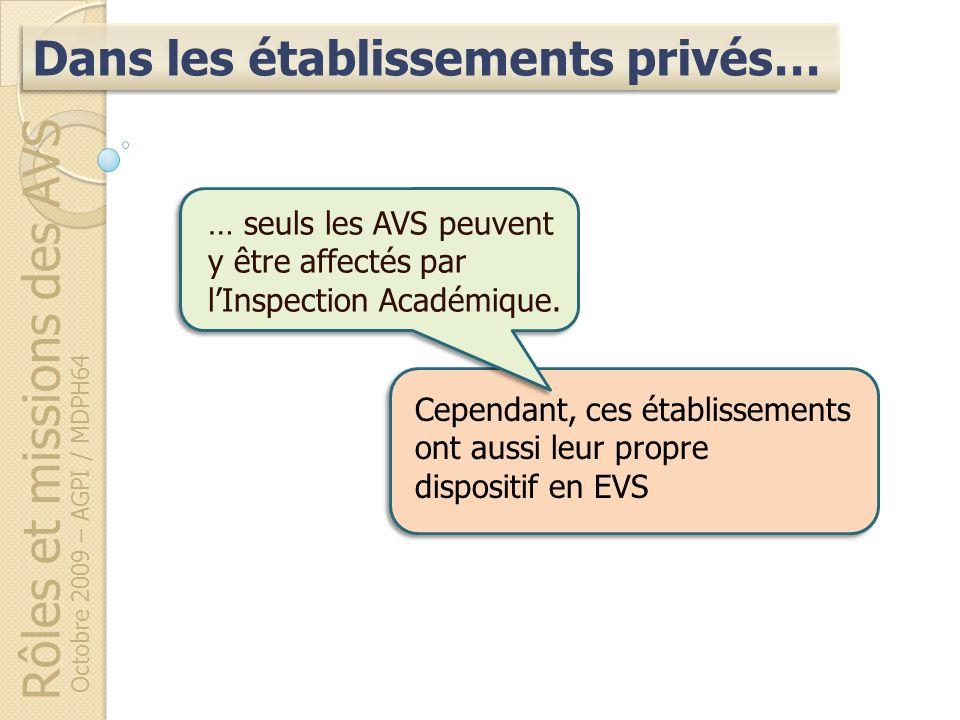 Rôles et missions des AVS Octobre 2009 – AGPI / MDPH64 Dans les établissements privés… Cependant, ces établissements ont aussi leur propre dispositif