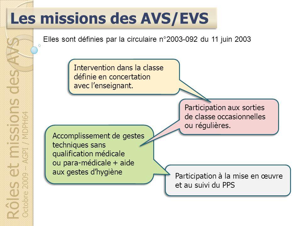 Participation à la mise en œuvre et au suivi du PPS Rôles et missions des AVS Octobre 2009 – AGPI / MDPH64 Accomplissement de gestes techniques sans q