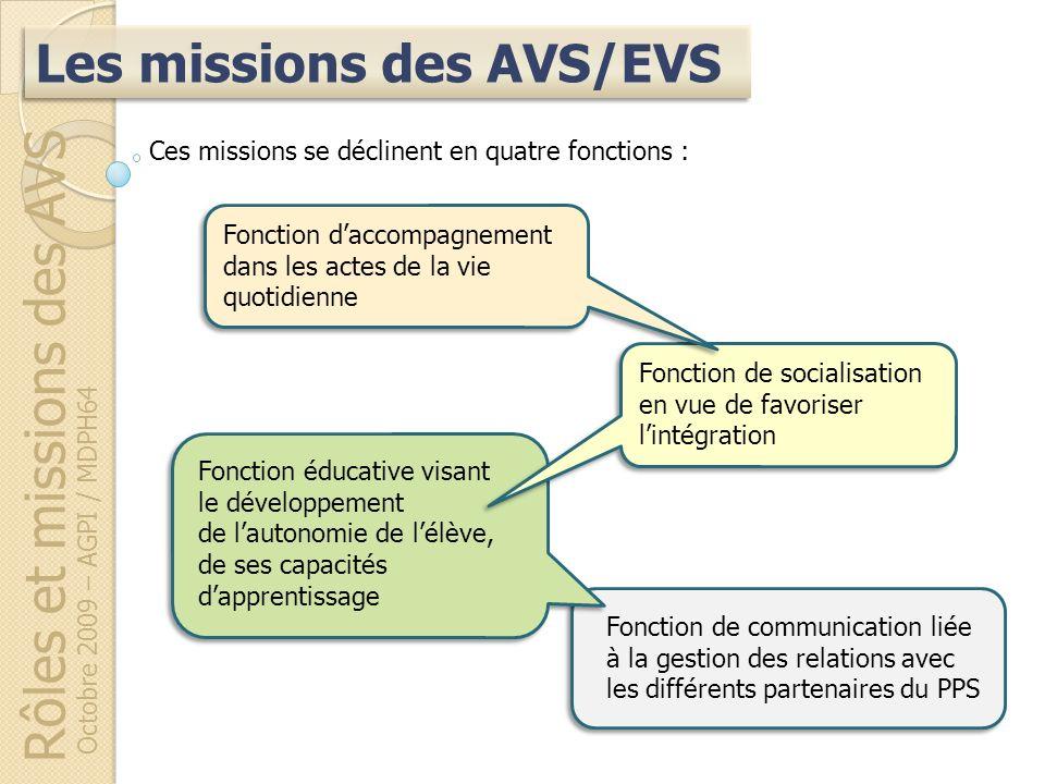 Fonction de communication liée à la gestion des relations avec les différents partenaires du PPS Rôles et missions des AVS Octobre 2009 – AGPI / MDPH6