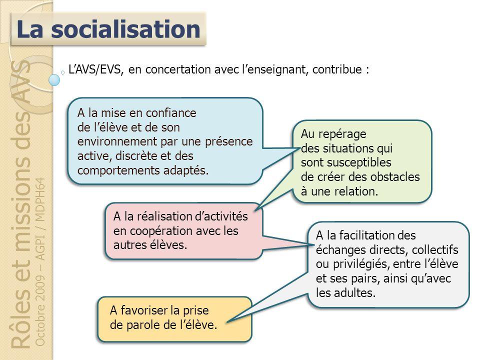 Rôles et missions des AVS Octobre 2009 – AGPI / MDPH64 A favoriser la prise de parole de lélève. A la facilitation des échanges directs, collectifs ou