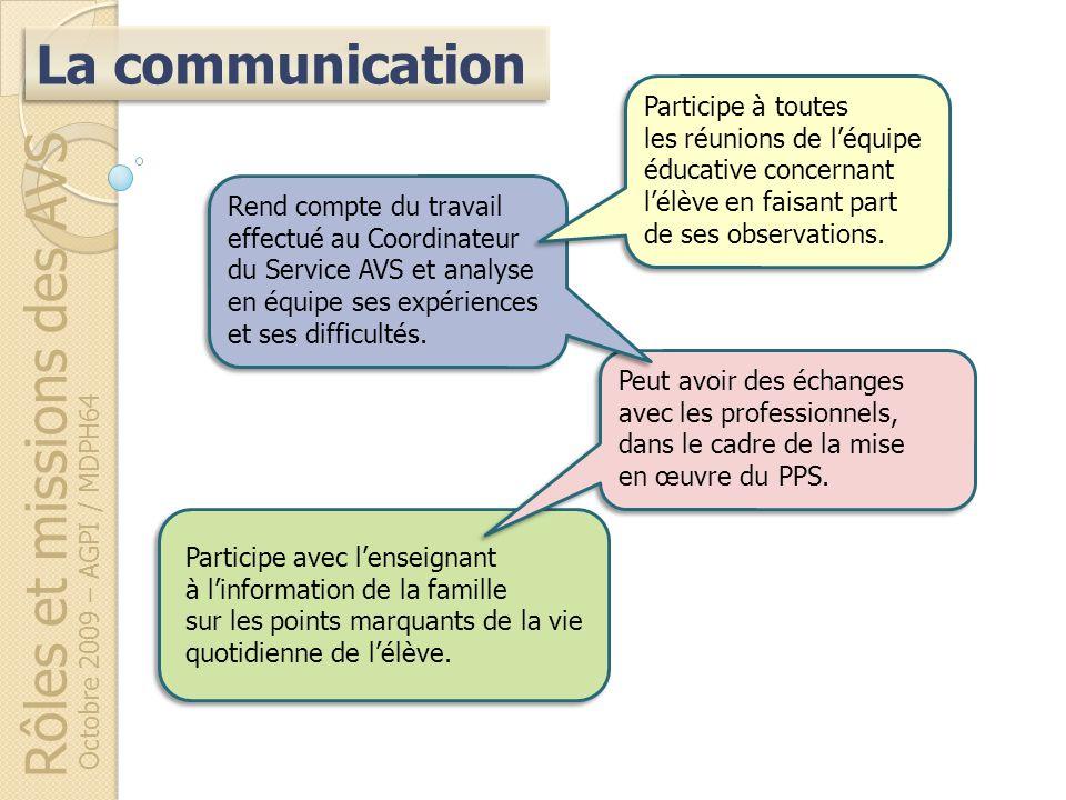 Rôles et missions des AVS Octobre 2009 – AGPI / MDPH64 Participe avec lenseignant à linformation de la famille sur les points marquants de la vie quot