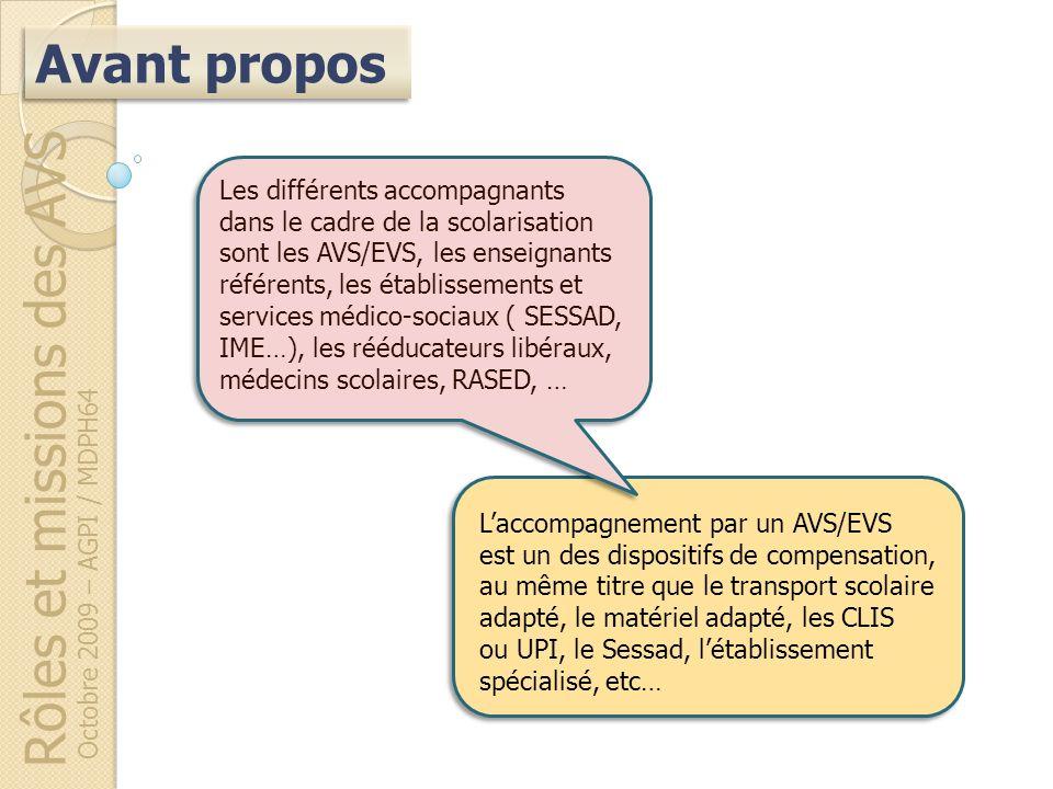 Rôles et missions des AVS Octobre 2009 – AGPI / MDPH64 Laccompagnement par un AVS/EVS est un des dispositifs de compensation, au même titre que le tra