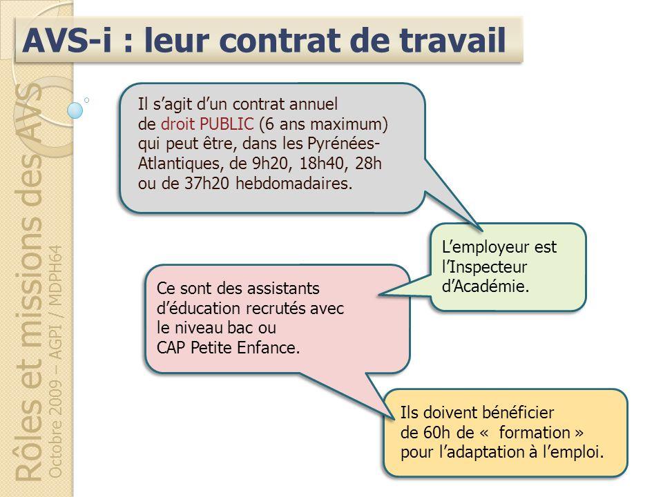 Rôles et missions des AVS Octobre 2009 – AGPI / MDPH64 Ils doivent bénéficier de 60h de « formation » pour ladaptation à lemploi. AVS-i : leur contrat