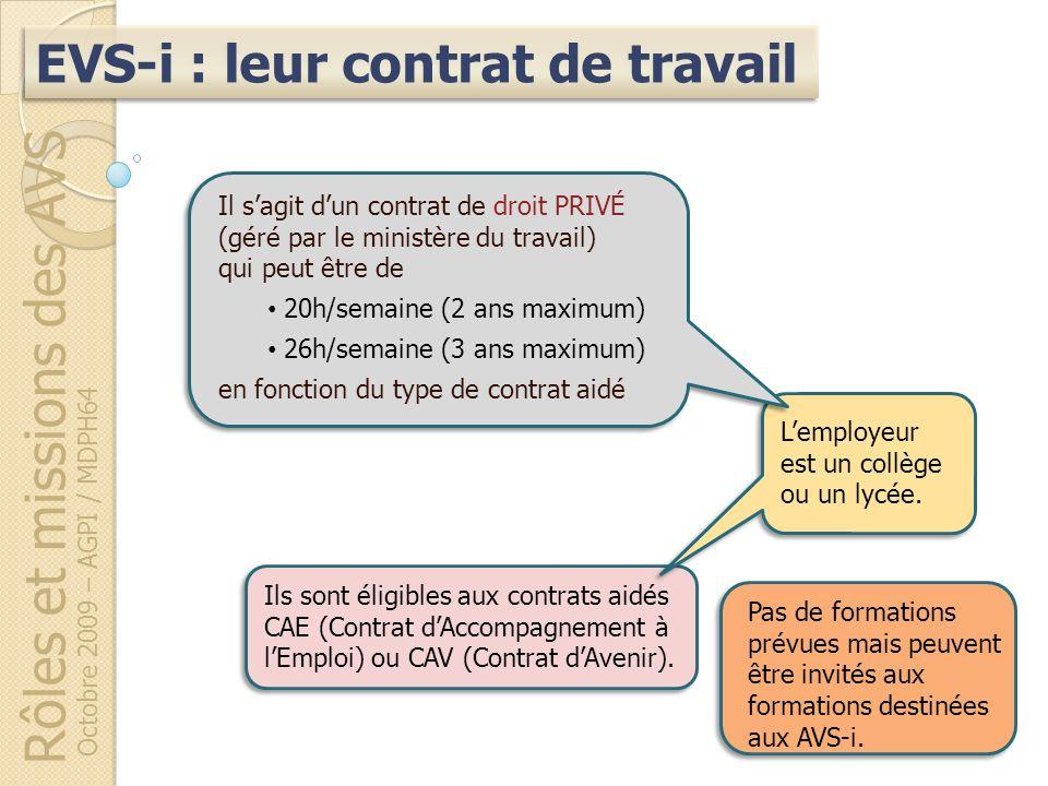 Rôles et missions des AVS Octobre 2009 – AGPI / MDPH64 EVS-i : leur contrat de travail Ils sont éligibles aux contrats aidés CAE (Contrat dAccompagnem