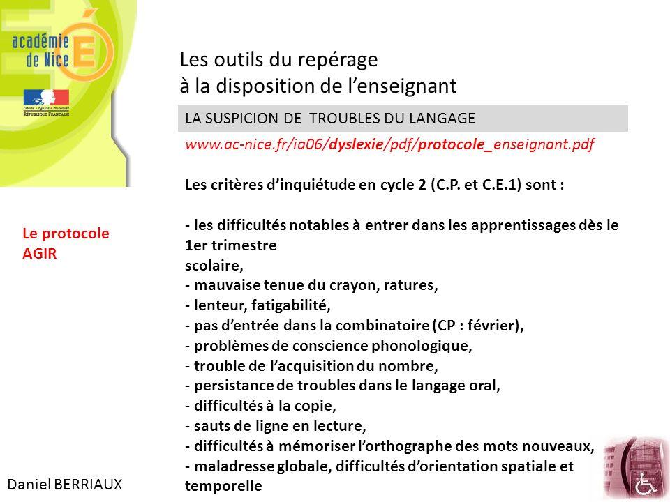 Daniel BERRIAUX Les outils du repérage à la disposition de lenseignant www.ac-nice.fr/ia06/dyslexie/pdf/protocole_enseignant.pdf LA SUSPICION DE TROUB