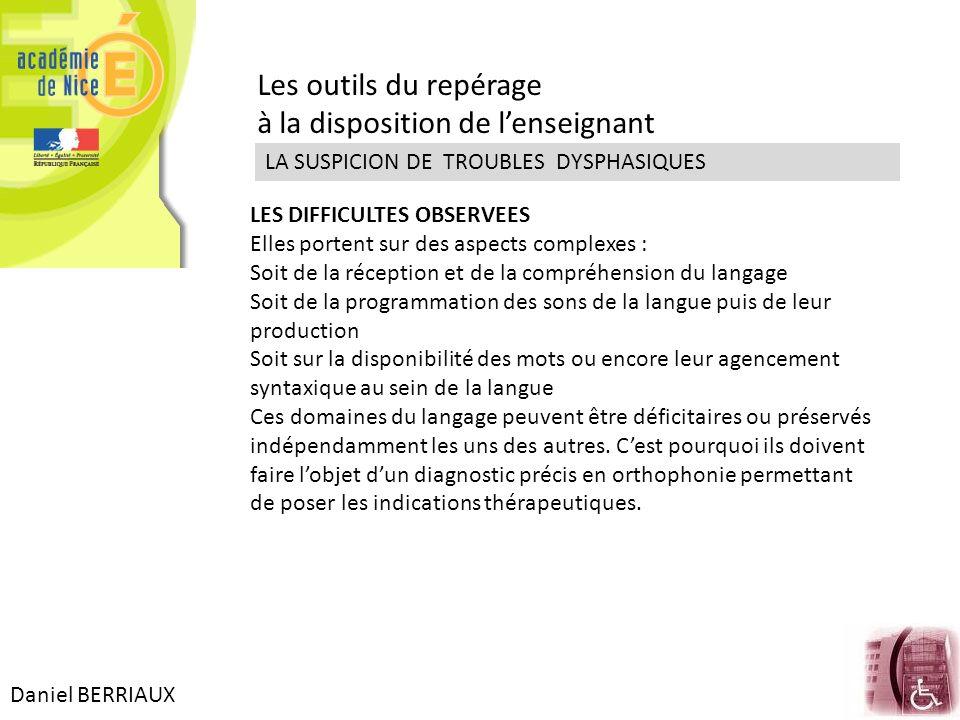 Daniel BERRIAUX Les outils du repérage à la disposition de lenseignant LA SUSPICION DE TROUBLES DYSPHASIQUES LES DIFFICULTES OBSERVEES Elles portent s