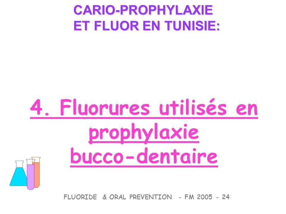 4. Fluorures utilisés en prophylaxie bucco-dentaire CARIO-PROPHYLAXIE ET FLUOR EN TUNISIE: CARIO-PROPHYLAXIE ET FLUOR EN TUNISIE: FLUORIDE & ORAL PREV